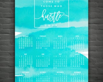 2017 Wall Calendar: Hustle // Watercolor // Teal // Aqua // Annual Calendar // At A Glance Calendar // Office Quote // Office Decor