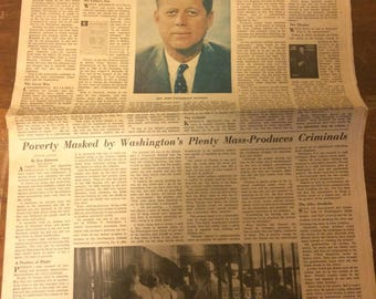 The Washington Post newspaper. Cover about JFK running for president. 1960.