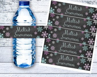 Melted Snowman Water Bottle Label, Printable, Snowflakes, Winter Onederland, Winter Wonderland, Birthday, Instant Download, You Print