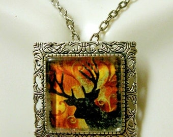 Buck convertible pendant or brooch with chain - WAP35-009