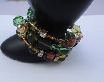 The Salisbury Bracelet Triple Strand in Green, Amber, Yellow, and Blue Glass-Handmade-Free Shipping
