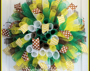 XL Pineapple Curly Wreath – Multicolor Spiral Deco Mesh Wreath – Green Yellow White Brown Wreath – Spring Summer Door Decoration