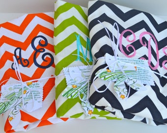 Monogrammed College Laundry Bag in Chevron with Strap grad gift