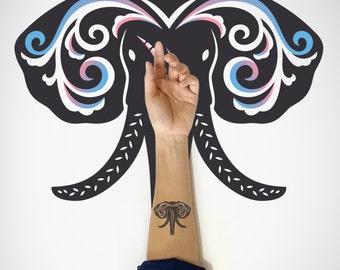 Elephant Temporary Art Tattoo / Elephant Head Temporary Tattoo / Decorative Temporary Tattoo / Animal Temporary Tattoo / Body Sticker