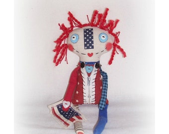 """Patriotic Raggedy Annie Doll Red White Blue """"Starr"""" Art Doll Handmade Patriotic Doll Flag USA Independence Day Fourth 4th Of July Art Doll"""