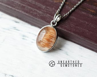 Rare Bronze Crystal Pendant Necklace with Rutilated Quartz -Womens Necklace, Bronze Gemstone Necklace, Crystal Gift Ideas