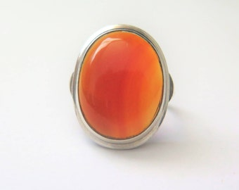 Vintage Sterling Silver Ring With Carnelian Stone, 1970's, Size N US SIze 6 3/4