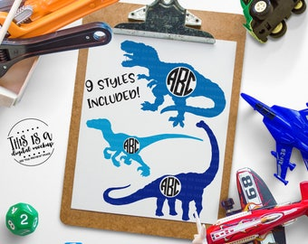 Dinosaur svg, Dinosaur Monogram svg, Boy Monogram svg, Dino Monogram svg, T-Rex svg, eps, dxf, png Cut Files for Silhouette for Cricut