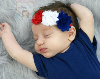 Red White And Blue Chiffon Flower Headband Fourth 4th Of July Baby Girl Patriotic