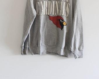Early 90's Vintage Phoenix Cardinals Heather Grey Pull-Over Sweatshirt