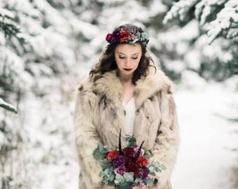 Deep Red, Eggplant & Plum Flower Crown - Eucalyptus - Bridal Flower Crown - Vibrant Hair Wreath - Flower Girl Crown- Engagement Photos