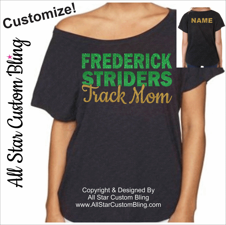 Track Shirt Custom Track Mom Dolman Off Shoulder ShirtTrack