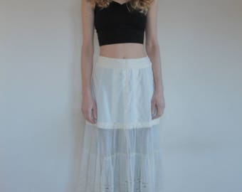 1910's petticoat with hand embroidered lace/ ivory cotton