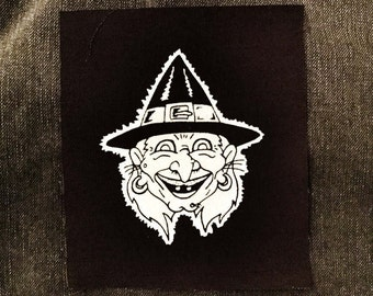 Halloween Witch Patch - retro / vintage inspired halloween witch screenprinted cloth patch