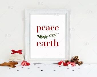Peace on earth - PRINTABLE Wall Art / Christmas wall art / Christmas printable / Holiday print / Red and Green Peace on earth printable
