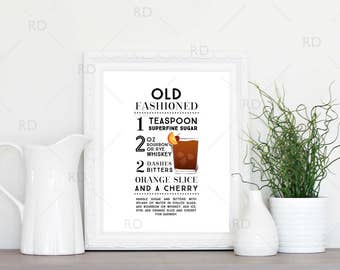 Old Fashioned Cocktail Recipe - PRINTABLE Wall Art / Cocktail Recipe Wall Art / Mixed Drink with Recipes Printable Wall Art / Cocktail Art
