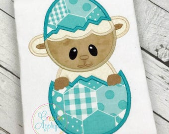 Lamb Easter Egg Applique Machine Embroidery Design 5 Sizes, lamb egg applique, easter lamb applique, easter lamb applique