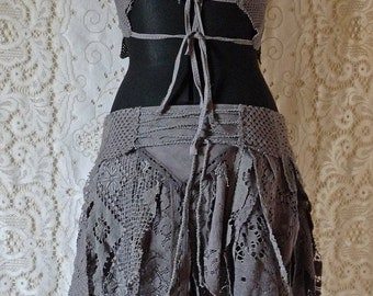 GRAY LACE SKIRT tattered cosplay victorian steampunk boho