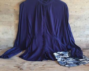 vintage blue blouse , summer clothes  , vintage  women blue shirt  , summer clothes for her