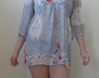 Sheer boho mini dress/tunic throw-on S/M