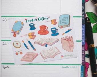 Notebook and tea lover - decorative watercolour planner stickers suitable for any planner -361-