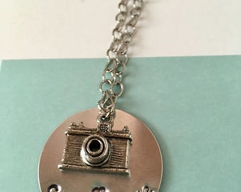 "Photographers Metal Stamped ""capture life"" Camera Charm Necklace."