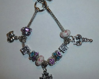 13-Silver Plated European Style Charm Bracelet with Cat Charms