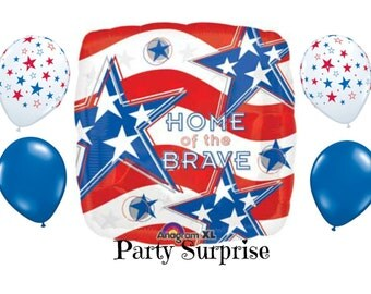 Patriotic Balloon Package with Straws Home of the Brave Red white and blue balloons Welcome Home Military Political Rally USA balloons
