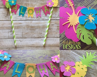 Hawaiian Cake Bunting Topper - Smash Cake Banner - Moana Themed Birthday - Luau Decorations - Tropical Hibiscus Pineapple