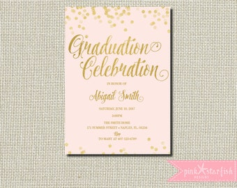 Pink Gold Graduation Invitation,  Graduation Party, Grad Announcement, Grad Celebration, Pink and Gold, Gold Glitter, Glam, Blush, Digital
