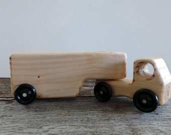 Wood Toy Semi Truck and Detachable Trailer-Handmade-Eco Friendly