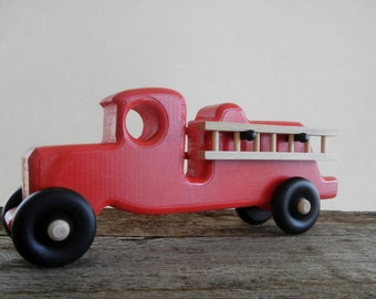 Toy Fire Truck-Detachable Ladders-Handmade-Wood-Push Pull Toy-Non Toxic Child Safe Paint
