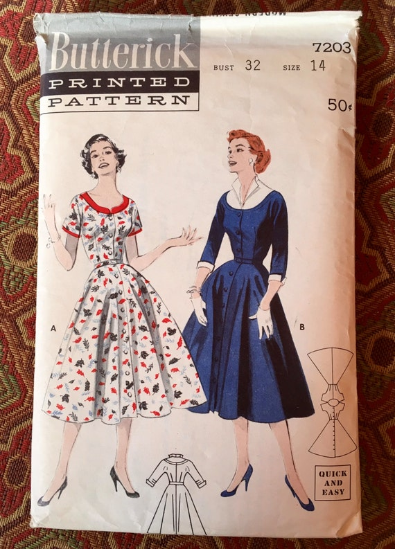 Butterick 7203 - 1950s Quick & Easy Coat Dress - Sewing pattern