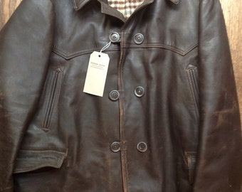 """Vintage 1960s 60s brown chrome tanned leather jacket Canadienne 56"""" chest XXL patina rockabilly double breasted"""