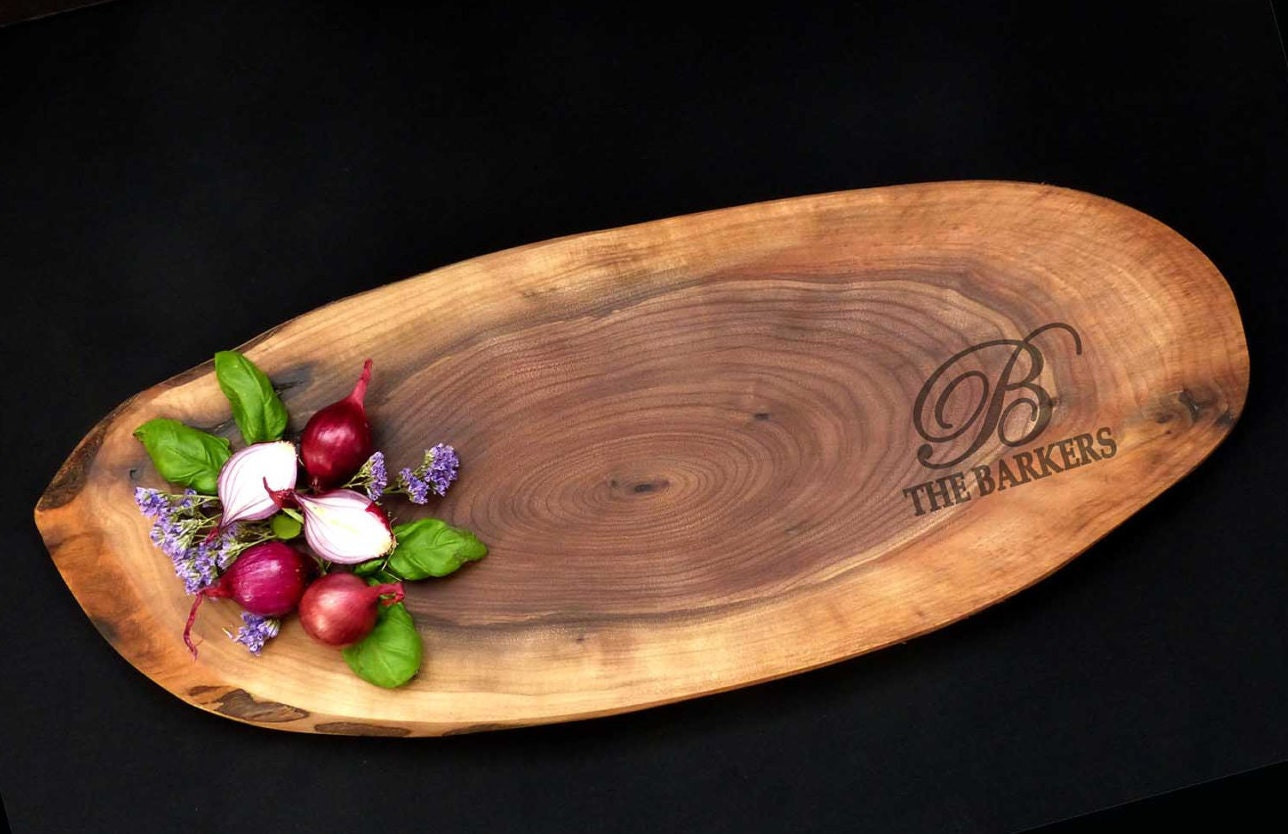 Personalized cheese board walnut wood slice cutting