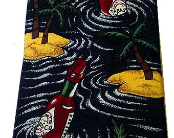 "Tabasco Necktie 100% Silk Floating Bottles Deserted Islands 4"" Wide Nice Design"