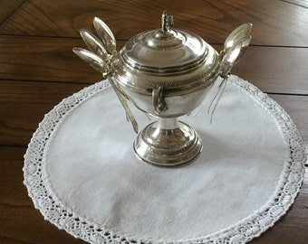 Vintage Italian Made Silver Plate Demitasse Sugar Bowl with Spoon Holder - including 6 demitasse spoos