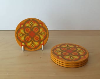 Set of 4 Vintage Drinks Coasters- Orange and Yellow Floral Design- Cork Backed