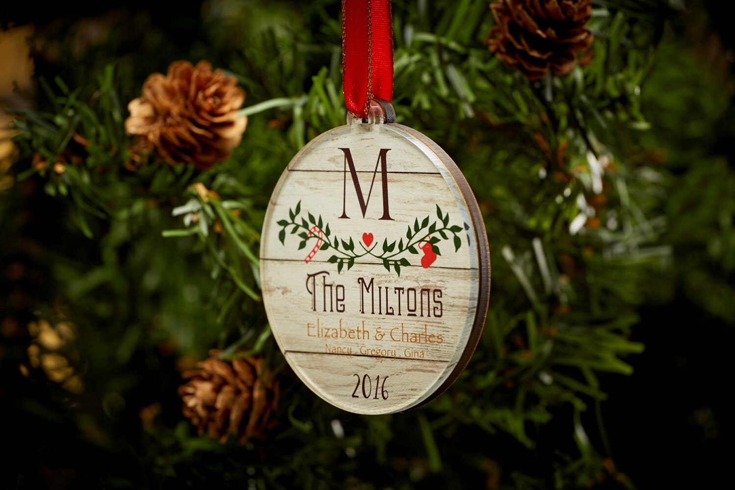 Custom christmas ornament couple ornament by tpcdesignstudio for Personalized christmas photo ornaments
