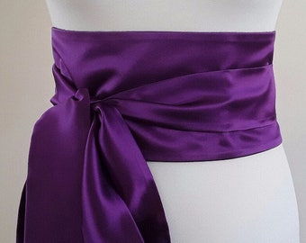 Purple Obi Belt, Silk Waist Obi Belt, Designer Silk Obi, Reversible Purple Waist Belt, Hadmade Silk Waist Belt, Made In Ireland