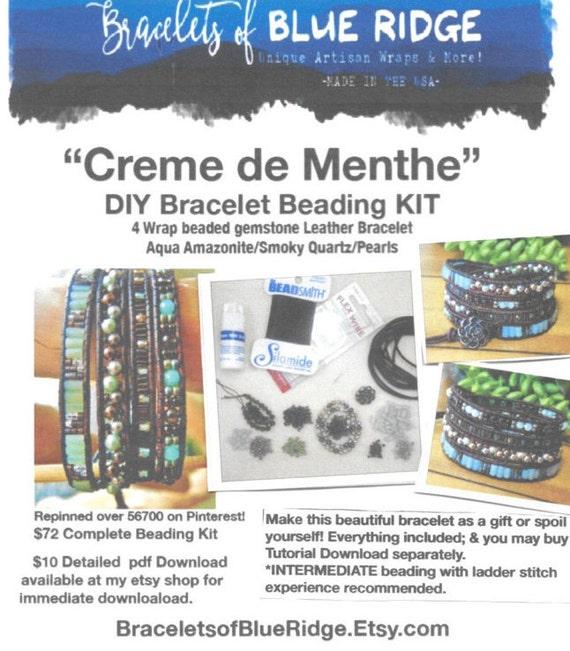 DIY BRACELET Beading KIT 'Creme de Menthe'4 Wrap Amazonite/Smoky ...