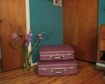 "1970 1980's Set of Two Vintage American Tourister Hardshell-Hardside Suitcases, Purple and Pink Vinyl, 24"" Vintage Luggage, Endtable, Retro"