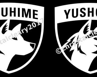 Kishu Ken vinyl decals with custom dog's name