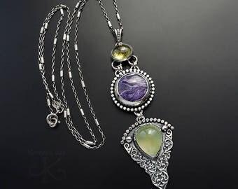 Violets glade - silver pendant with charoite, garnet and prehnite, fine jewelry, pmc jewelry, handmade jewelry