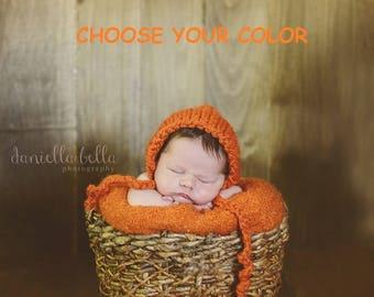 Chunky Newborn Bonnet, Newborn Photo Prop, Baby Photo Prop Hat, Newborn Photo Prop Hat - Choose Your Color