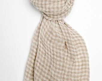 Brown checkered 100% linen scarf, linen scarf, flax scarf, spring scarf, linen shawl, brown shawl, linen wrap, grey scarf, unisex scarf