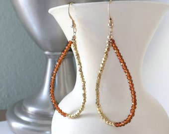 Tear Drop Hoops-Unusual Earrings-Unique Boho Earrings-Summer Jewelry Ideas-Citrine Earrings-Novemeber Birthstone-Boho Summer Jewelry-Fiance