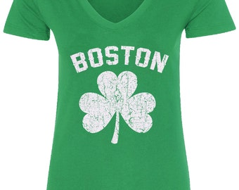 Boston Shamrock Irish Pride Women's V-Neck Fitted T-Shirt St. Patrick's Day - TA_00098