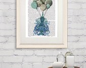 Nautical Decor Octopus Birdcage and Hot air Balloons  nautical bathroom octopus poster octopus nursery art Octopus Artwork octopus wall art