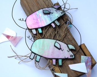 GLASS PIG - Iridescent Stained Glass - White Christmas Decoration - Cute Gift - Contemporary Festive Ornament